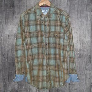 True Grit Flannel Plaid Cord Long Sleeve Shirt M
